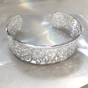 Silver Plated Charleston Ivy Cuff Bracelet